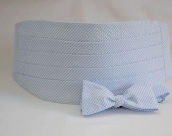Cummerbund & Bow Tie set, pale blue seersucker, wedding party menswear, stylish tuxedo accessory, groom formal wear, southern style wedding