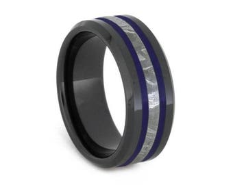 Gibeon Meteorite Wedding Band With Navy Blue Enamel Pinstripes, Black Ceramic Ring, Space Jewelry