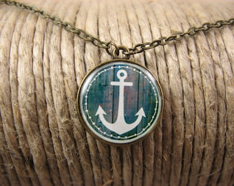 Blue Anchor necklace, Anchor pendant, Bronze necklace, Nautical necklace, Anchor jewelry, Sea pendant, Summer jewelry, Everyday jewelry