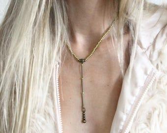 Boho necklace, Y necklace, bohemian necklace, bohemian jewelry, boho jewelry, gift for women, tribal necklace, gold necklace, hippie jewelry