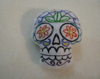 Small Sugar Skull Pincushion or stuffed animal