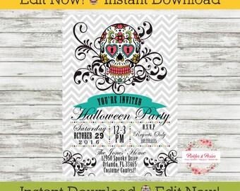 Dia de los Muertos Invitation - Halloween Invitation - Sugar Skull Invitation - INSTANT DOWNLOAD - Edit at Home with Adobe Reader Now!