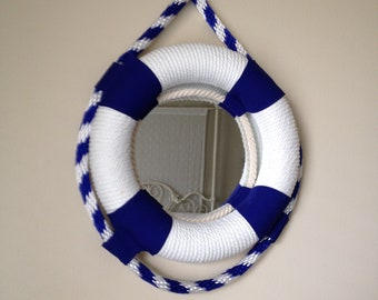Royal Blue & White, Rope Life Preserver Mirror