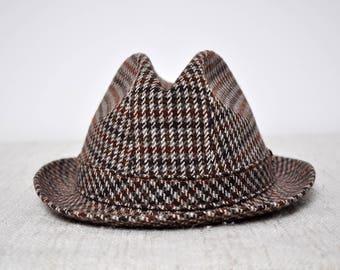 Vintage Gentleman's Brown Tweed Plaid Wool Fedora Hat