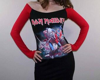 Iron Maiden le Trooper hors épaule Heavy Metal robe longue manches Rock satanique
