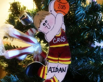 BASKETBALL PLAYER Personalized Christmas Ornament Child Name Ball Tree Ornie