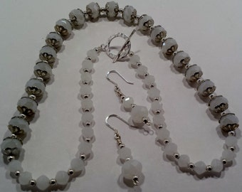 Silver & white necklace and earring set.