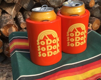 South Dakota Beer Can Coolers  - Vintage Camping Can Coolers Set of Two - So Dak Retro Camping Can Coolers Beer Insulators by Oh Geez Design