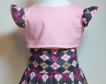 "Pleated Argyle Schoolgirl Skirt Set Pink Gray 18"" Doll Fits AG Dolls"