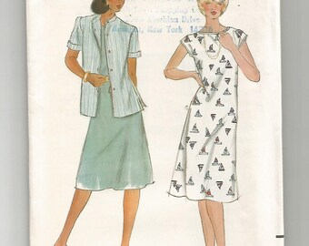 3639 Butterick Sewing Pattern Semi Fitted Dress & Jacket UNCUT Size 10 Vintage 1980s