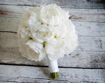 White Peony Wedding Bouquet - Peony Wedding Bouquet