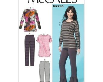 McCall's M7295 Size 4-14 or 16-26 Misses Tops and Elastic Waist Pants Sewing Pattern / Uncut FF