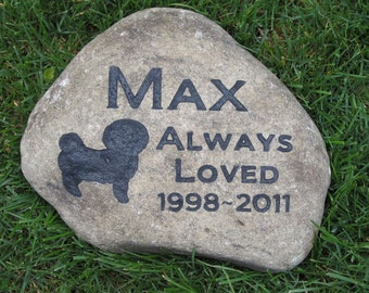 Personalized Dog Memorial Stone, Pet Memorial Stone, Bichon Gravestone, Burial Memorial Stone, Grave Marker, 8-9 Inches