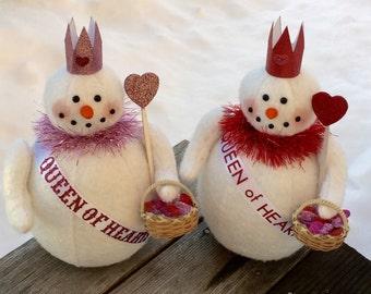 Little Snow Queen of Hearts Stuffed Snowman