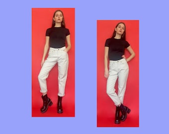 Vintage 90s High Waisted Beige Khaki Tapered Mom Jeans