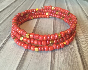 Salmon and Gold Wrap bracelet, Memory wire bracelet, Boho Bracelet, Gift for Her