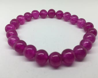 Women Burgundy Wine Fog Glass Bracelet