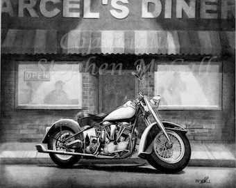 "Giclee print of original pencil drawing ""Marcel's"", motorcycle drawings, motorcycles, Harley Davidson motorcycle drawings, gifts for men"