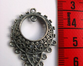 Barcelona filigree antique-silver chandelier earring finding