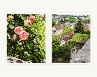 "France Travel Photography, ""French Village Charms"", Set of 2 Fine Art Prints, Gallery Wall, Home Decor, Gift"