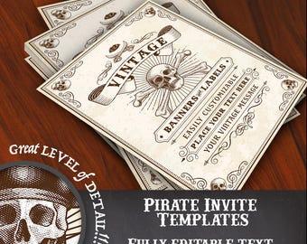 Pirate Theme Editable Vector Invitation Template