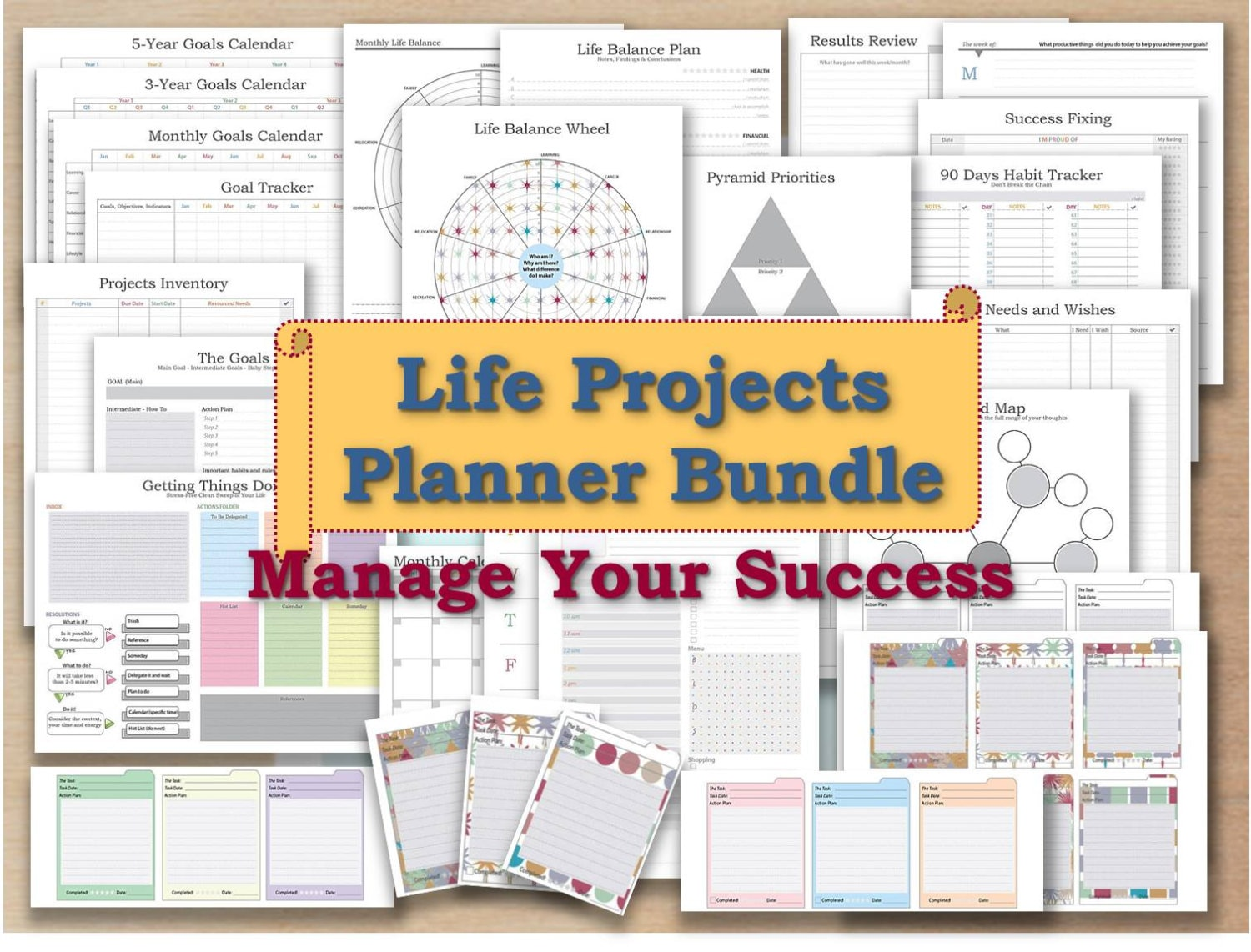 project planner life organizer kit and cards plan template. Black Bedroom Furniture Sets. Home Design Ideas