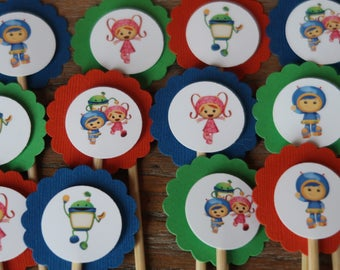 Team Umizoomi Themed Cupcake Toppers (Geo, Milli and Bot)- Set of 12 - Nick Jr.
