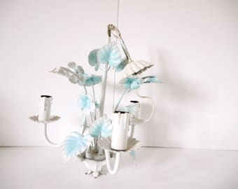 French Vintage Tole Chandelier blue and white morning glories floral/ Vintage Shabby Chic Cottage Romantic Elegant Whimsy