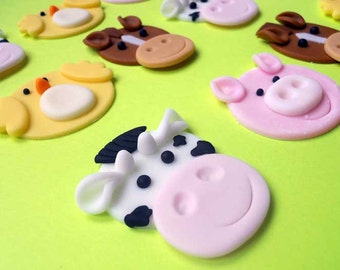 12 FARM Animals Edible Cupcake Toppers