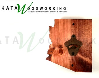 Arizona shaped Wood Cut-out Bottle Opener - Wall Mount - Handmade!