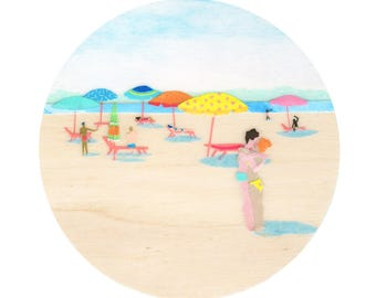 Archival Art Print - Beach Kiss, Beach Art, Tiny Art, Miniature Art, Beach Umbrellas, Collage Art, Paper Cut, Collage, Blue Sky, Rainbow