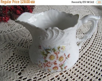 SALE Embossed Porcelain Pitchers Art Nouveau  Asters Cream Pitcher French Cottage Decor white Porcelain Pitcher Daisy Decor