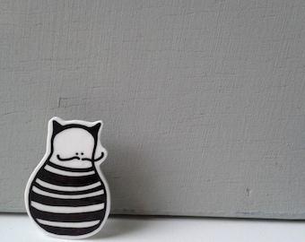 Brooch pin moustache striped cat guy - shrink plastic