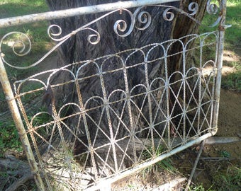 Vintage Wrought Iron Gate Rusted Chippy Painted White shabby Garden Decor headboard Naturally Weathered