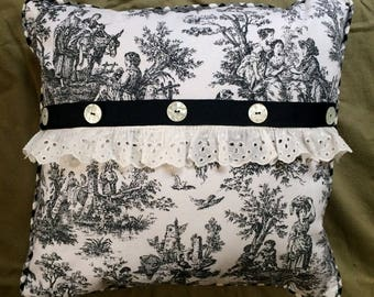 Shabby Chic black toile linen  fabric pillow with  Black check and Vintage Buttons and Vintage Lace.