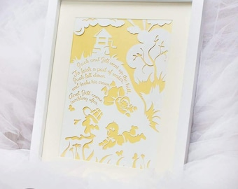 Framed jack and jill paper cut