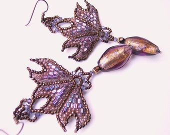 Art Nouveau Fleur-de-Lis Chandelier Earrings, Gift for Her, Vintage French Glass Seed Bead Jewelry, Copper and Lilac Glass Earrings