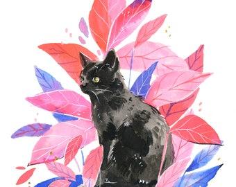 Hand Embellished Print - Black Cat Inktober