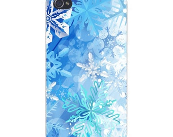 Apple iPhone Custom Case White Plastic Snap on - Winter Snowflakes Blue & White Stacked 4830