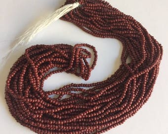 Czech Glass Seed beads - BRICK RED with Stripes - 1 Hank
