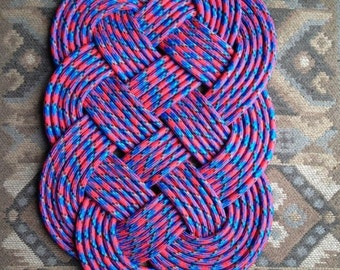 handmade rope rug 26.5inx16.5in