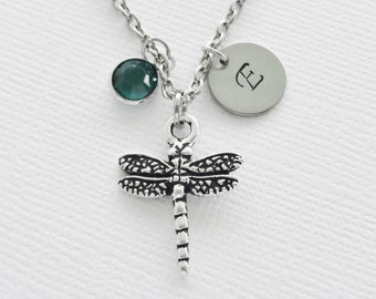 Dragonfly Necklace Birthstone Tierracast SIlver Initial Personalized Anniversary Birthday Gift Present Gardner Insect Animal Jewelry