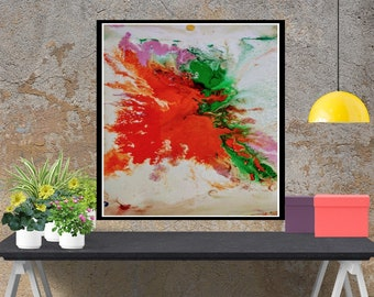 Surrealism, Bird Of Fire, Original modern painting,  acrylic abstract painting, canvas art print, fine wall art painting, print giclee art