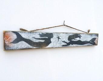 Personalize This Original Art Item-Mermaid Art Handmade on Reclaimed Wood Mermaid Kids Room Sea Mermaid Wall Art Mangoseed
