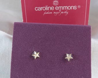 Caroline Emmons Twinkle Pierced Earrings Goldtone 2297    Vintage, Star