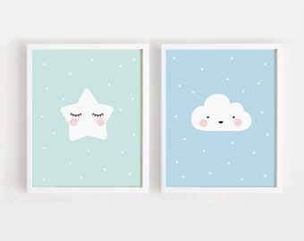 Star and Cloud Baby room decor Printable Nursery Art Set of 2 Poster Kids room wall decor Mint Sky Blue INSTANT Digital print download