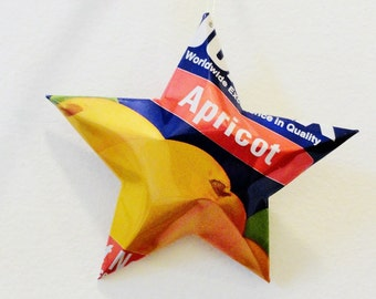 Jumex Apricot Nectar Can Stars Ornaments Upcycled Repurposed Recycled