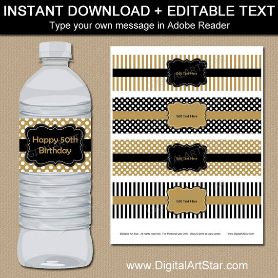 Universal image regarding free printable water bottle labels for birthday