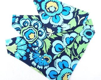 SALE - Dog Bandana - Big bright blue flower floral Sliding Bandana