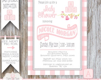Baby Blocks Girl Shower Invitation Baby Girl Shower Invitation ABC Blocks Baby Shower Invitation Girl Pink and Gray DIY Printable - 041-002